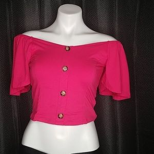 Hot pink off the shoulder crop top size M